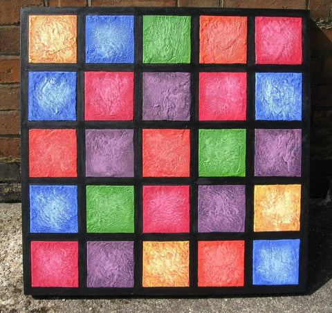 Colour blocks mixed media sculpture on canvas