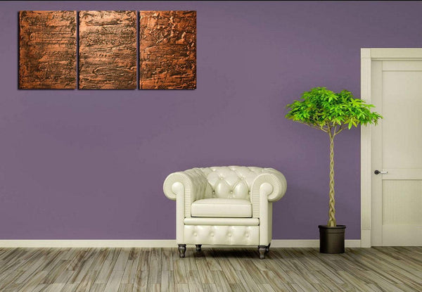 Copper Triptych oversized metal wall art