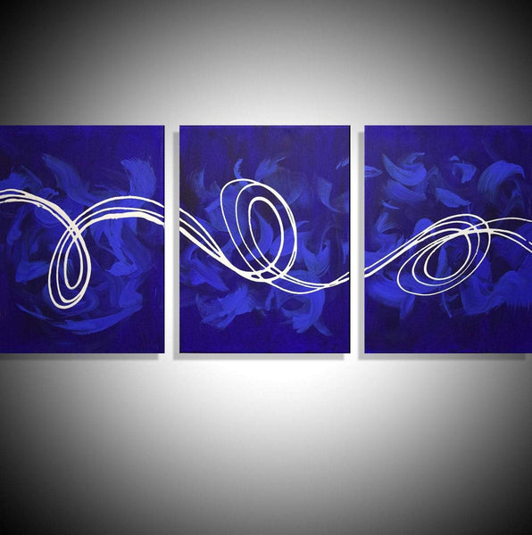 Deep Blue abstract painting for home office