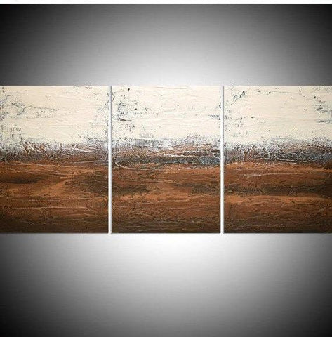 Earth tones canvas triptych painting fine art for sale