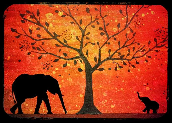 elephant baby illustration picture animal orange africa Original print Landscape rainbow Giclee wall abstract nursery gift for her
