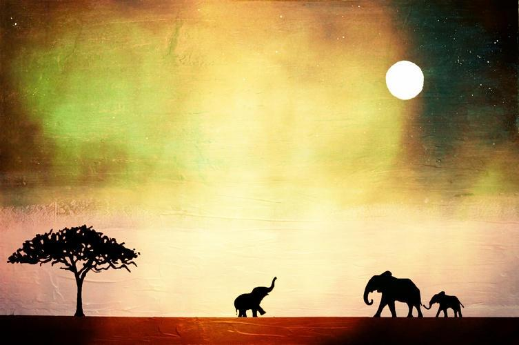 elephant baby illustration picture animal yellow green africa Original print Landscape rainbow Giclee wall abstract nursery gift for her