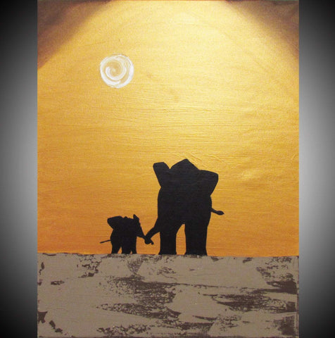 elephant canvas Hand to hold onto ,in acrylic large canvas