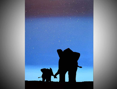 "Elephant canvas ""Homecoming"" modern art for sale"