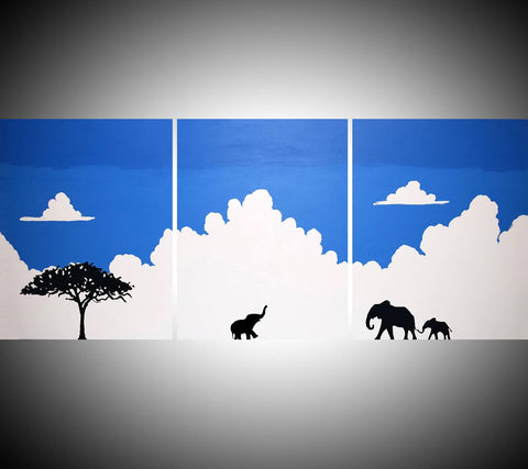 "elephant canvas painting ""Welcome home"" animal wall art"