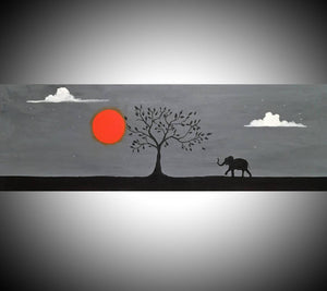 elephant wall art canvas orange sunset