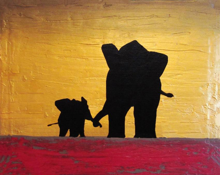 elephant wall art Hold my hand african animal wall art