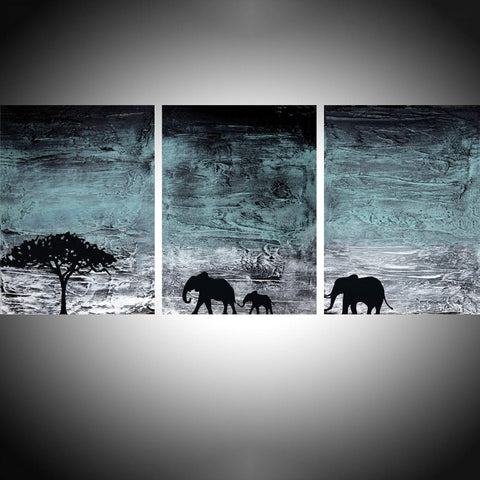 elephant wall art in Turquoise paint 4 sizes