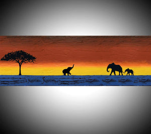 "Elephants wall art ""The journey home"" large painting canvas"