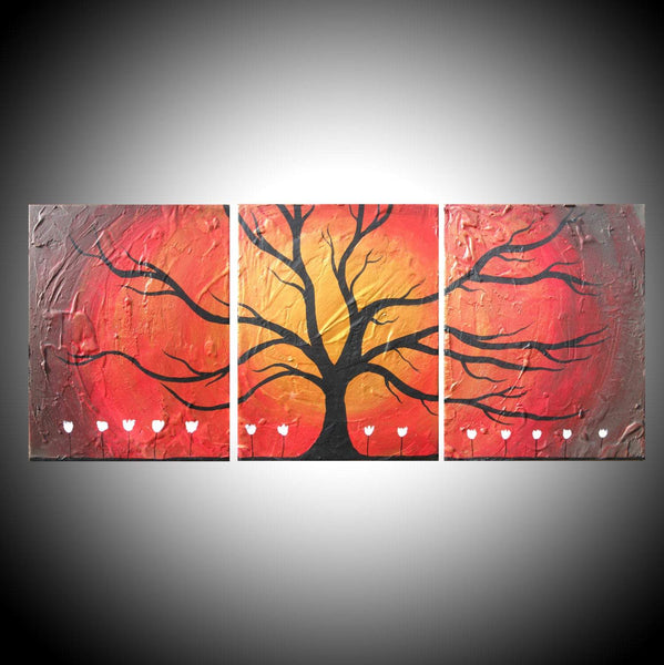 "extra large triptych wall art "" The Wildwood "" on canvas"