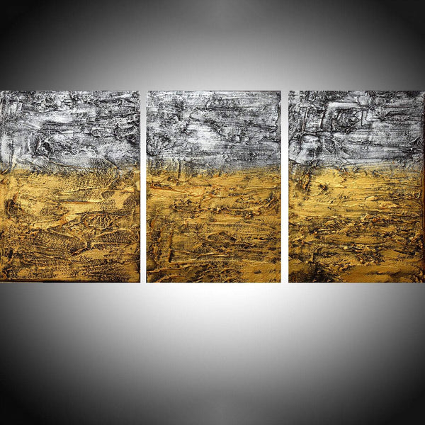 "extra large wall art 3 panel wall modern "" Colors of change "" silver gold on canvas original artwork painting abstract 48 x 20"""