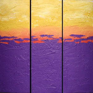 EXTRA LARGE WALL art triptych 3 panel piece multi purple yellow red orange paintings on canvas original abstract kunst Peintingu 48 x 48""