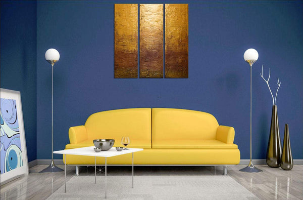 "EXTRA LARGE WALL art triptych 3 panel wall art ""Golden Decadence"" canvas original paintings on canvas abstract kunst Peintingu 48 x 48"""