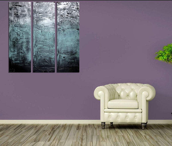 "EXTRA LARGE WALL art triptych 3 panel wall art "" Turquoise Triptych ""  paintings on canvas original abstract kunst Peintingu purple 48 x 48"""