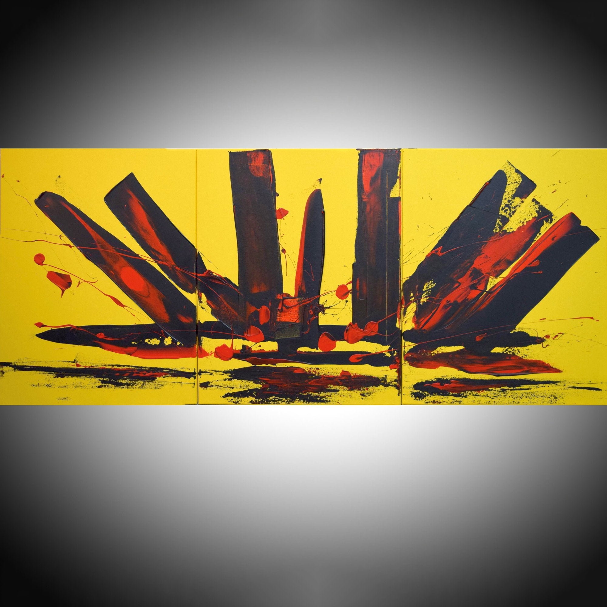 "EXTRA LARGE WALL art triptych 3 panel wall "" Yellow Intuition"" yellow black on canvas original painting abstract artwork 48 x 20"""