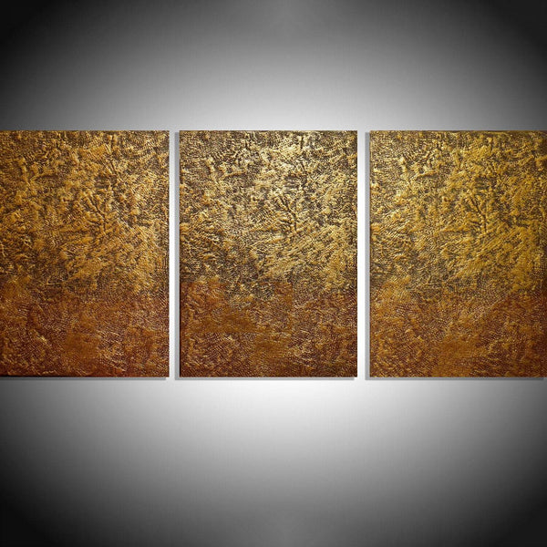 golden mystery canvas triptych