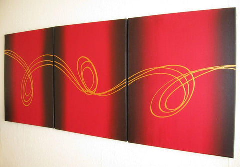 "huge wall hanging abstract ""Gold Strands"" contemporary 3 big sizes"