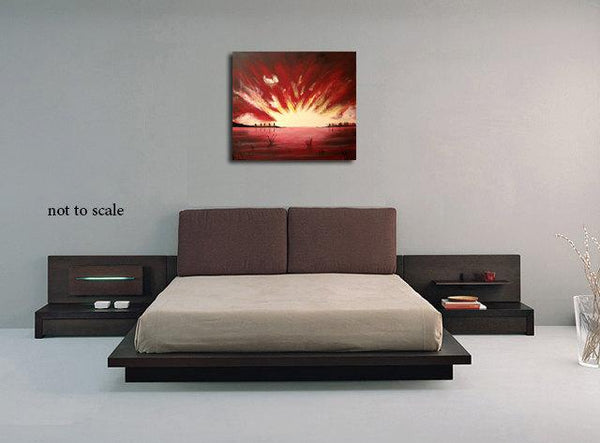 "Landscape painting modern original wall art abstract canvas modern paintings on contemporary sunrise hanging ""sunset dream"""