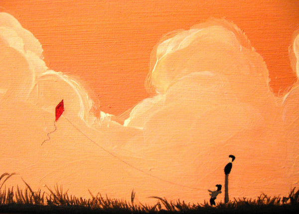 "landscape painting original art  ""Day of the Kite"" abstract canvas wall art modern acrylic contemporary artwork surreal"