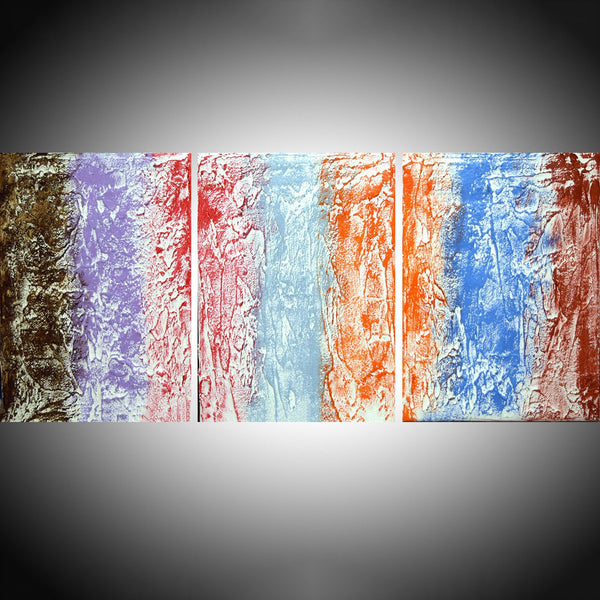 "large triptych abstract for sale "" Rainbow Abstraction 2 "" in 3 big sizes"