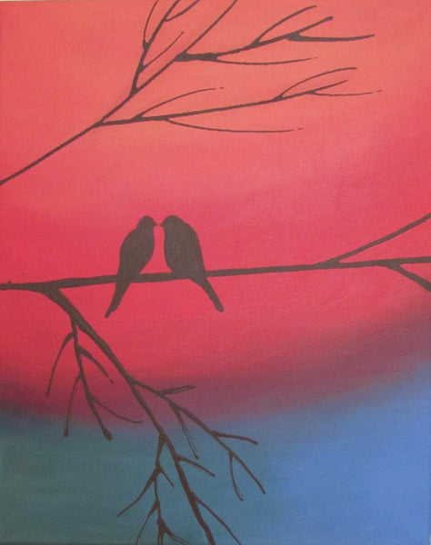 love bird picture home office nursery wall art birds painting triptych