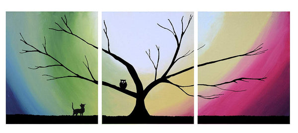 Original acrylic paintings on canvas abstract triptych landscape tree owl and the pussycat painting large wall art Modern 20 x 48 ""