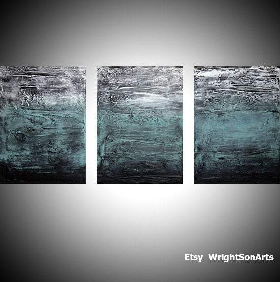 "original triptych canvas"" Turquoise Triptych "" beautiful 3 sizes"