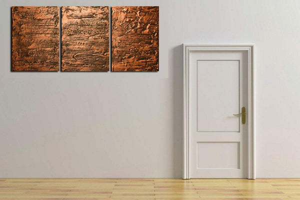"original triptych paintings for sale "" Copper Triptych "" beautiful and elegant"