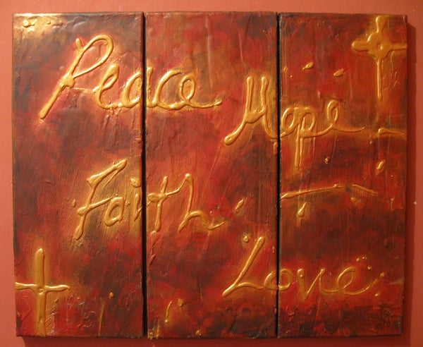 "religious art triptych jesus piece ""Faith hope Love"" modern artwork painting Abstract Painting wall art  canvas texture impasto 27 x12"