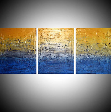 Silver and Gold a metallic set of paintings triptych canvas