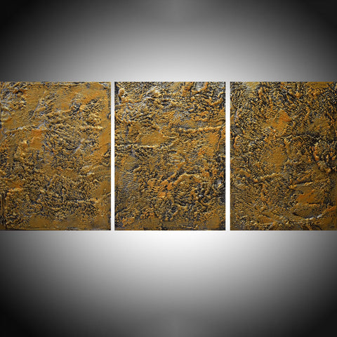 Silver and gold triptych canvas paintings