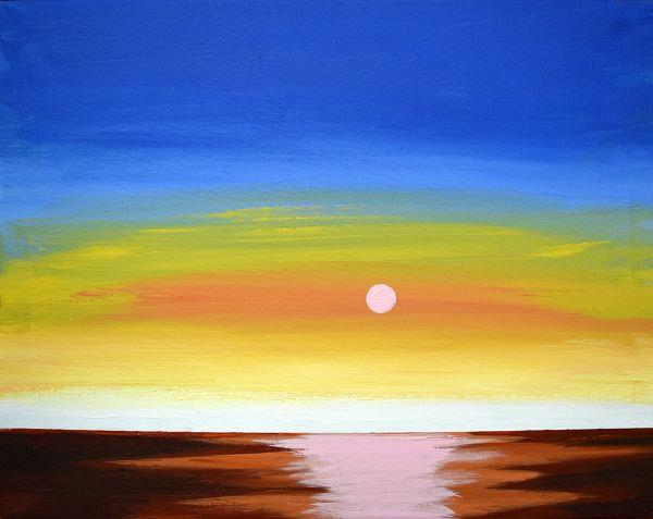 sunset ocean illustration picture animal canvas art Original print painting Giclee wall abstract nursery gift for her Collectibles