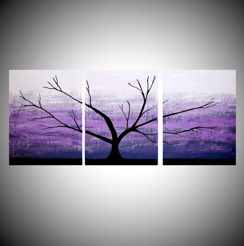 "tree wall art canvas ""Purple Tree of Life"" forest wall art"