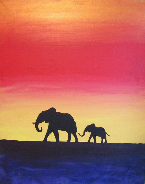 triptych african Elephant paintings for sale