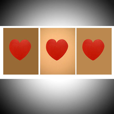 "triptych canvas art for sale "" Three of Hearts "" 3 big sizes"