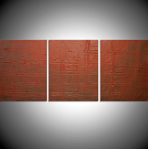 "triptych canvas painting for sale in impasto "" Earth Tones "" original"