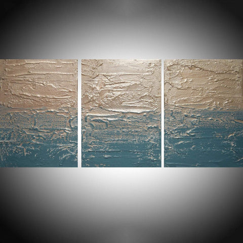"triptych canvas paintings for sale  "" Turquoise Peace ""  3 big sizes"