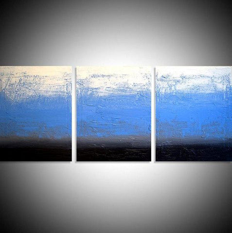 "triptych for sale  ""Ice Blue"" thick impasto effects in a modern style 3 big sizes"