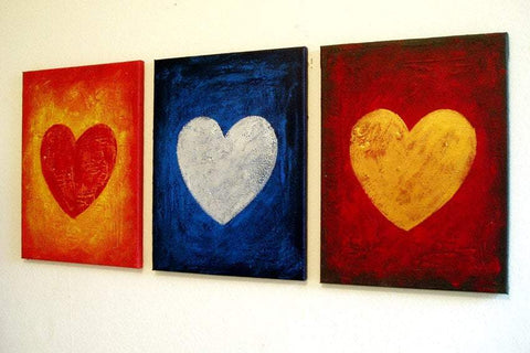"triptych modern for sale  ""three of hearts""  3 big sizes in acrylic"