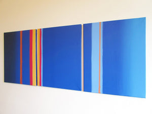 "triptych original paintings "" Linear Blue "" 3 big sizes"