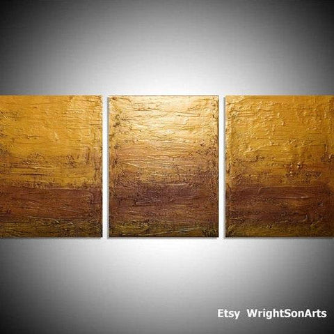 "triptych painting for sale in impasto ""Golden Decadence""  wall art"