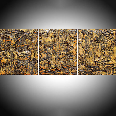 "triptych painting for sale in impasto ""Golden Glow ""  wall art"