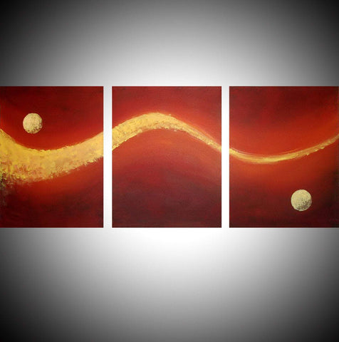 "triptych painting for sale in impasto "" Moon Dust "" original"