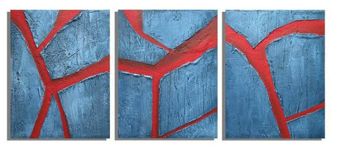 "triptych painting in blue with impasto effects for sale  "" Cracked Earth"" on canvas"