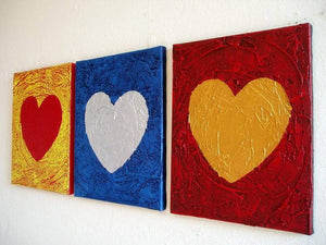 triptych paintings for sale  three of hearts artwork