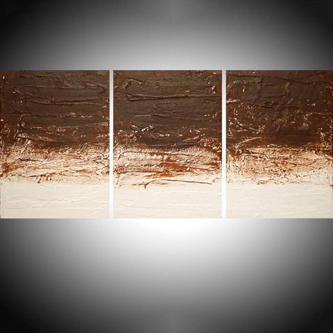 triptych paintings for sale Tones of Brown with impasto effects 3 big sizes