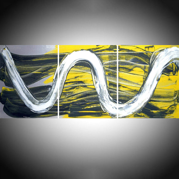 "triptych paintings in acrylic "" Yellow Affinity """