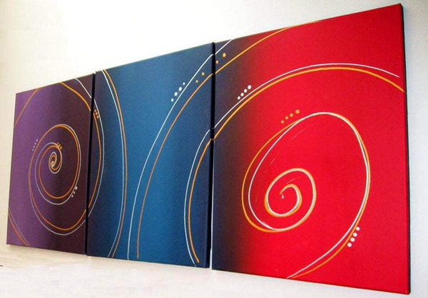 "triptych paintings on canvas, colorful and hand made "" Color Spiral """