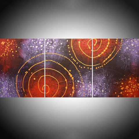 "triptych paintings on canvas "" Cosmic Symphony "" in metallic silver and gold"