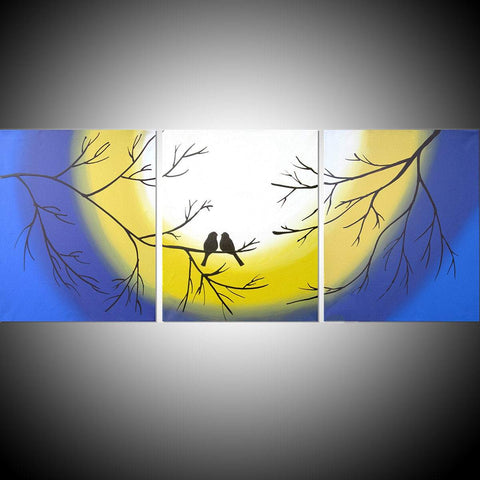 triptych paintings on canvas, love bird  Always Together